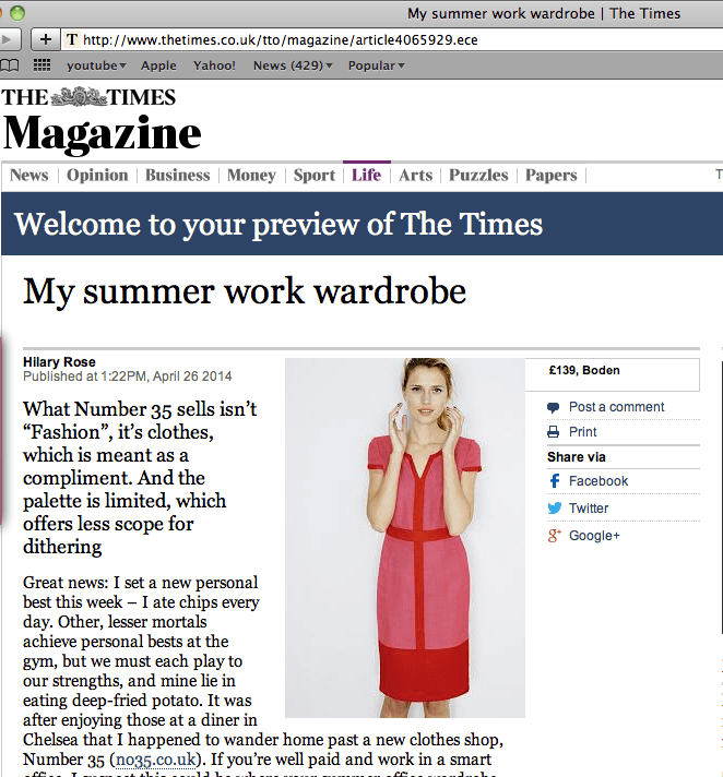 The Times Magazine's suggestion for summer work wardrobe