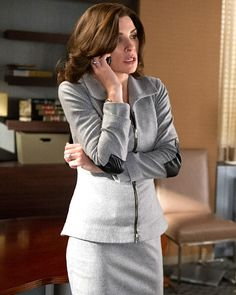 Juliana Margulies (Alicia) in the The Good Wife wearing JK09 wine suit with puff sleeve and SK33 pencil skirt