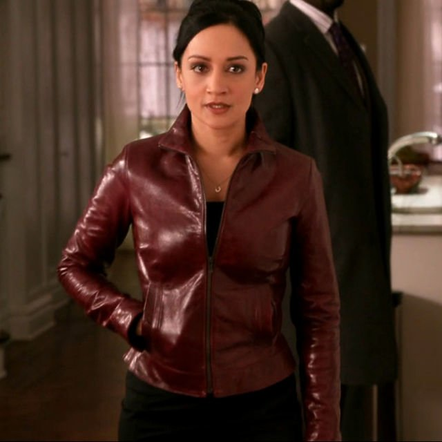Red Bomber Jacket worn by Kalinda Sharma and designed by Number 35