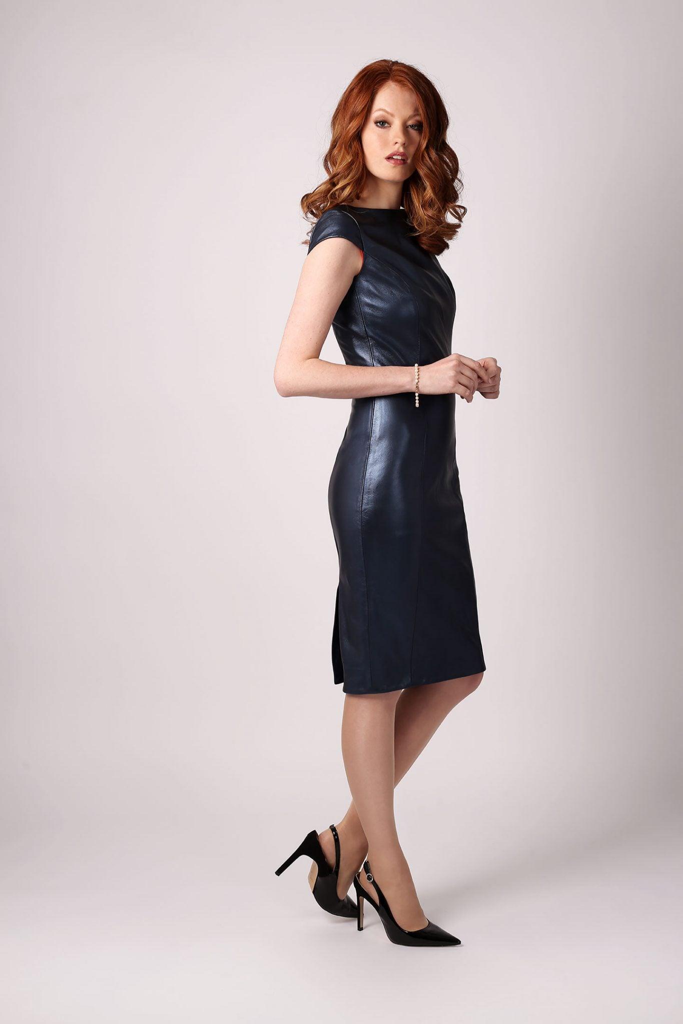Petrol Blue Metallic Leather Dress1