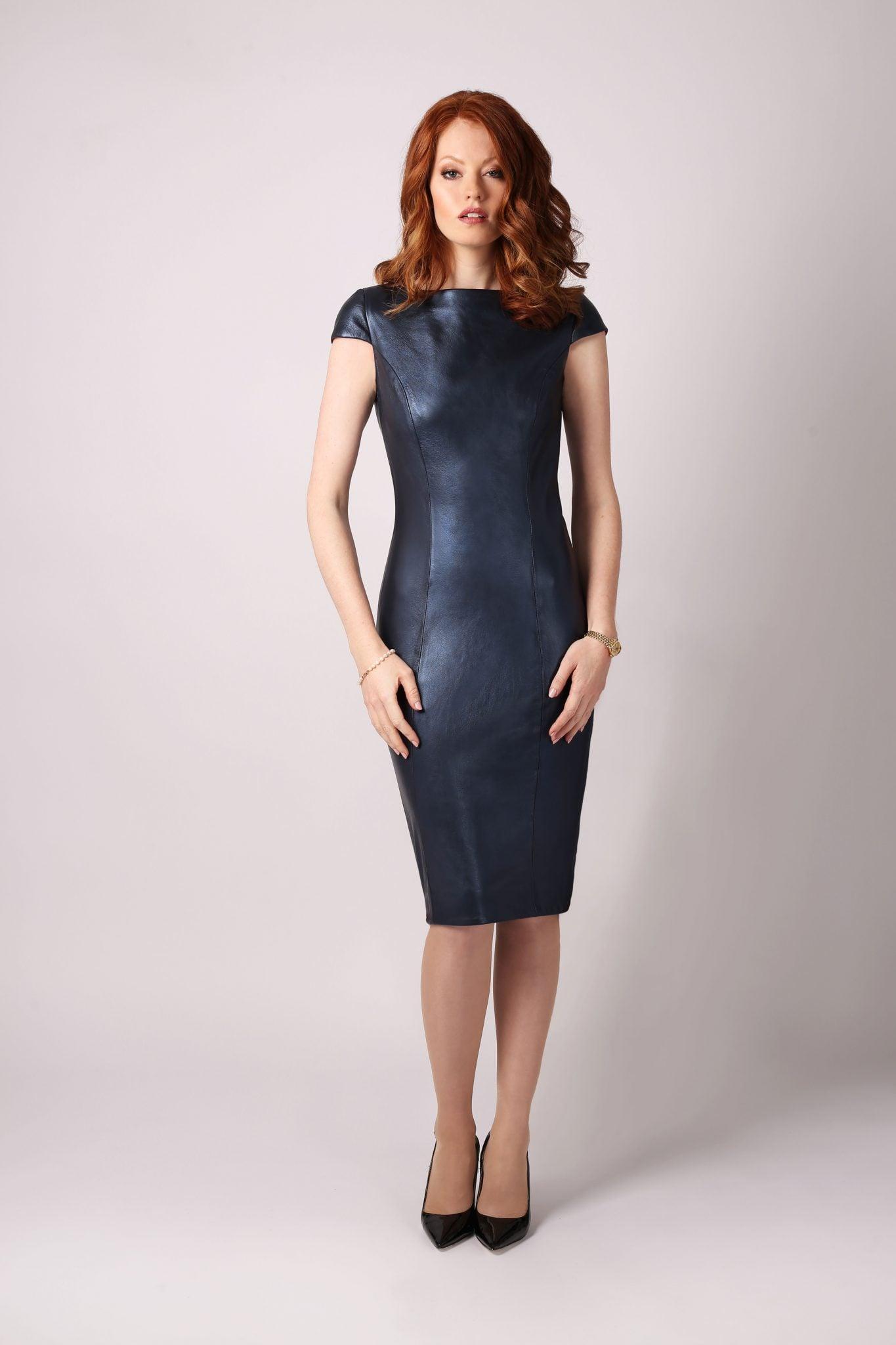 Petrol Blue Metallic Leather Dress