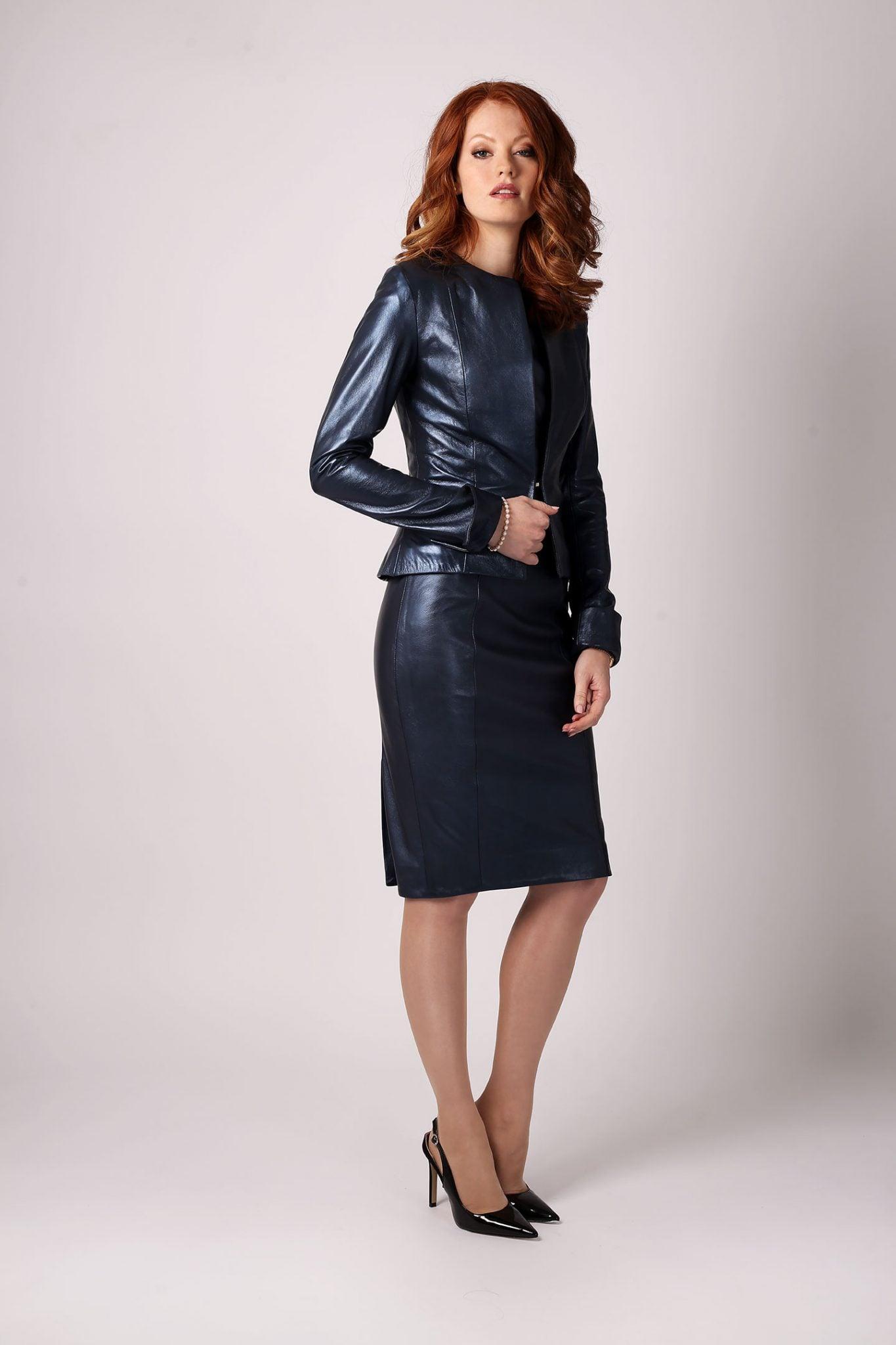 Petrol Blue Metallic Leather Dress2