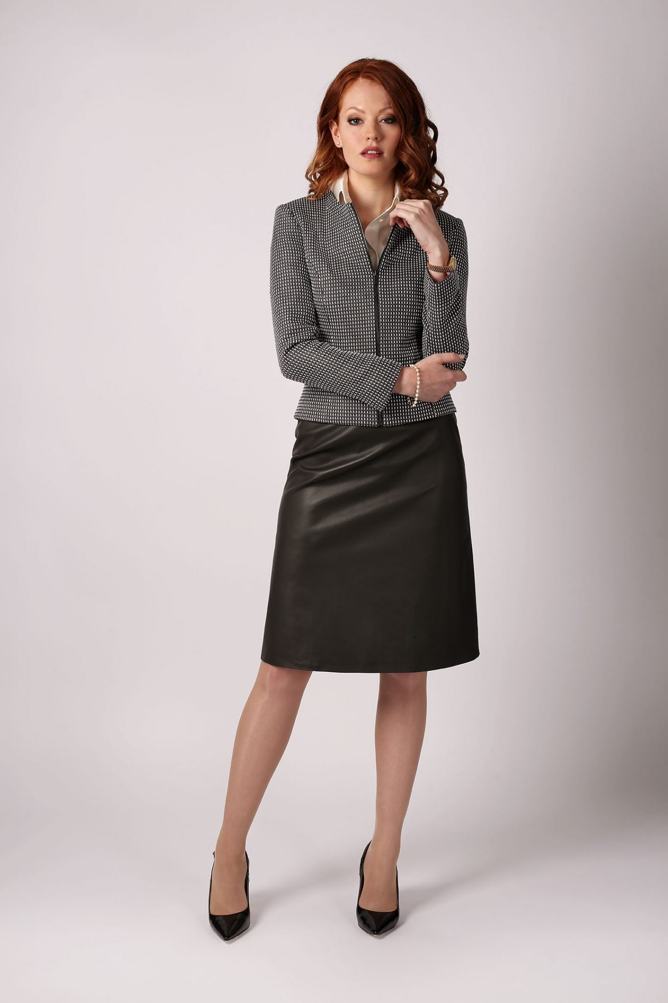 Leather A-Line Skirt2