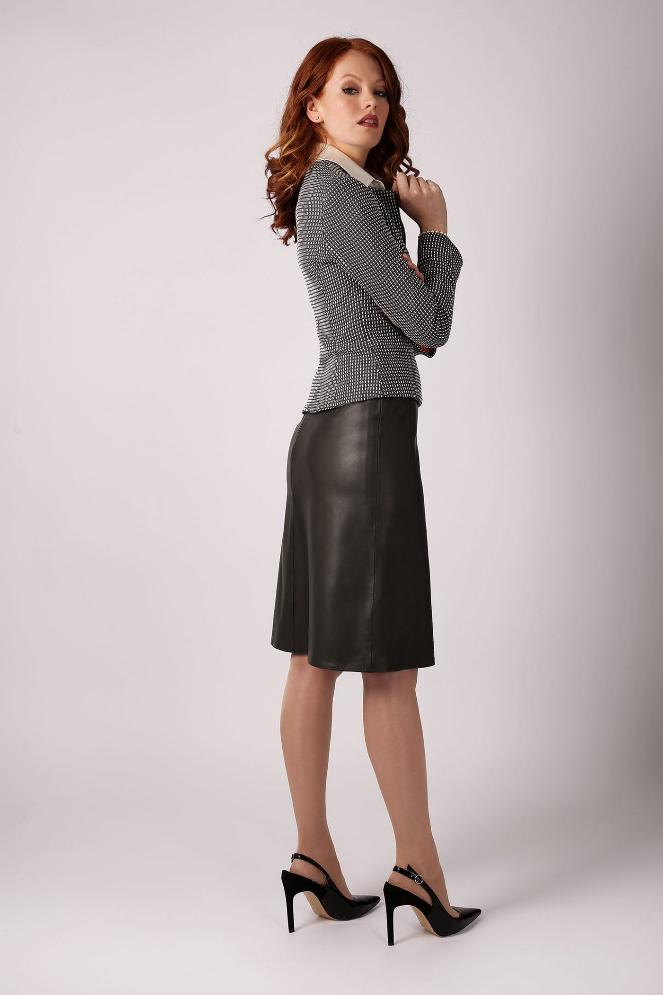 Leather A-Line Skirt1