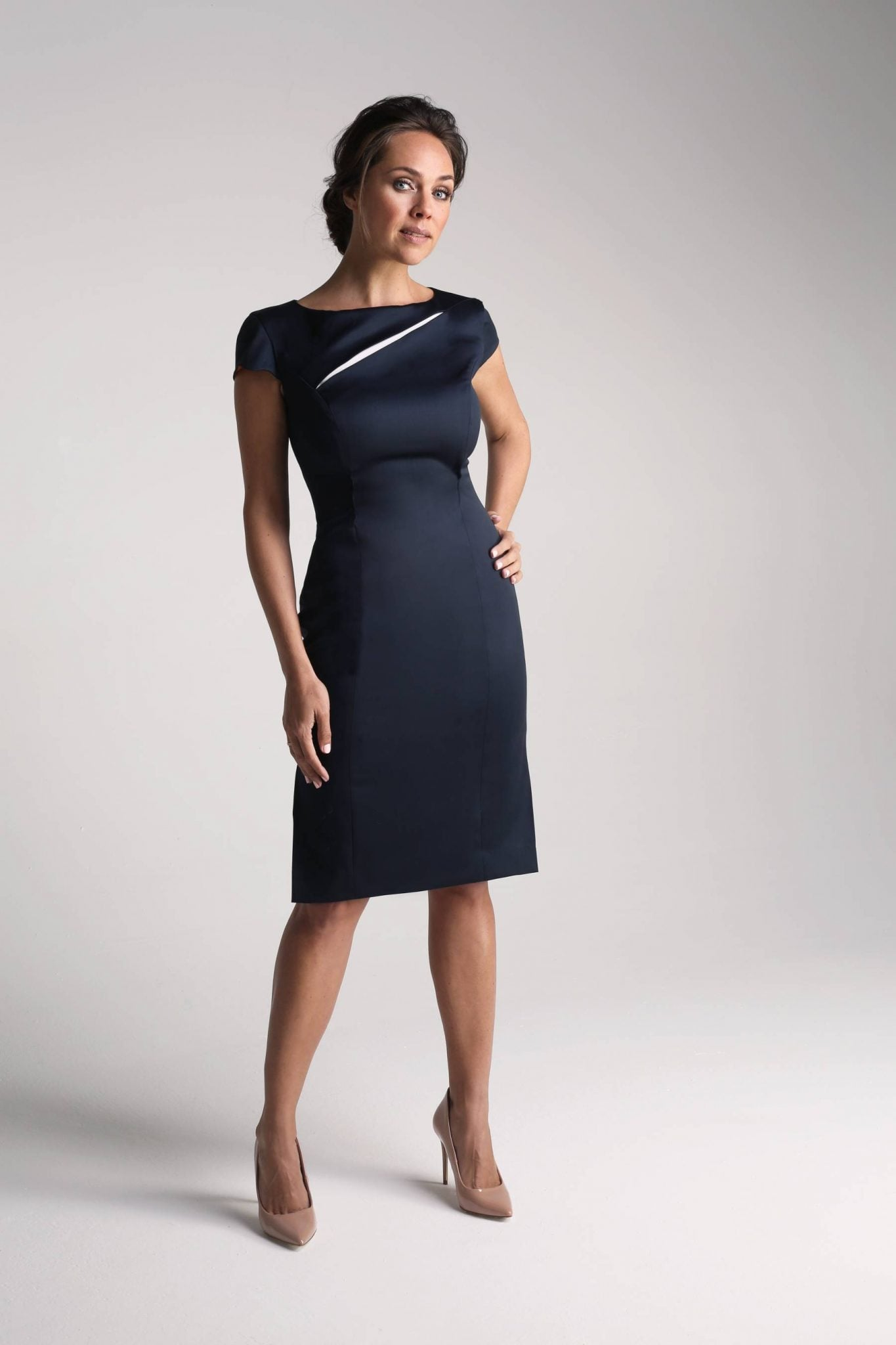 Navy Contrast Insert Dress