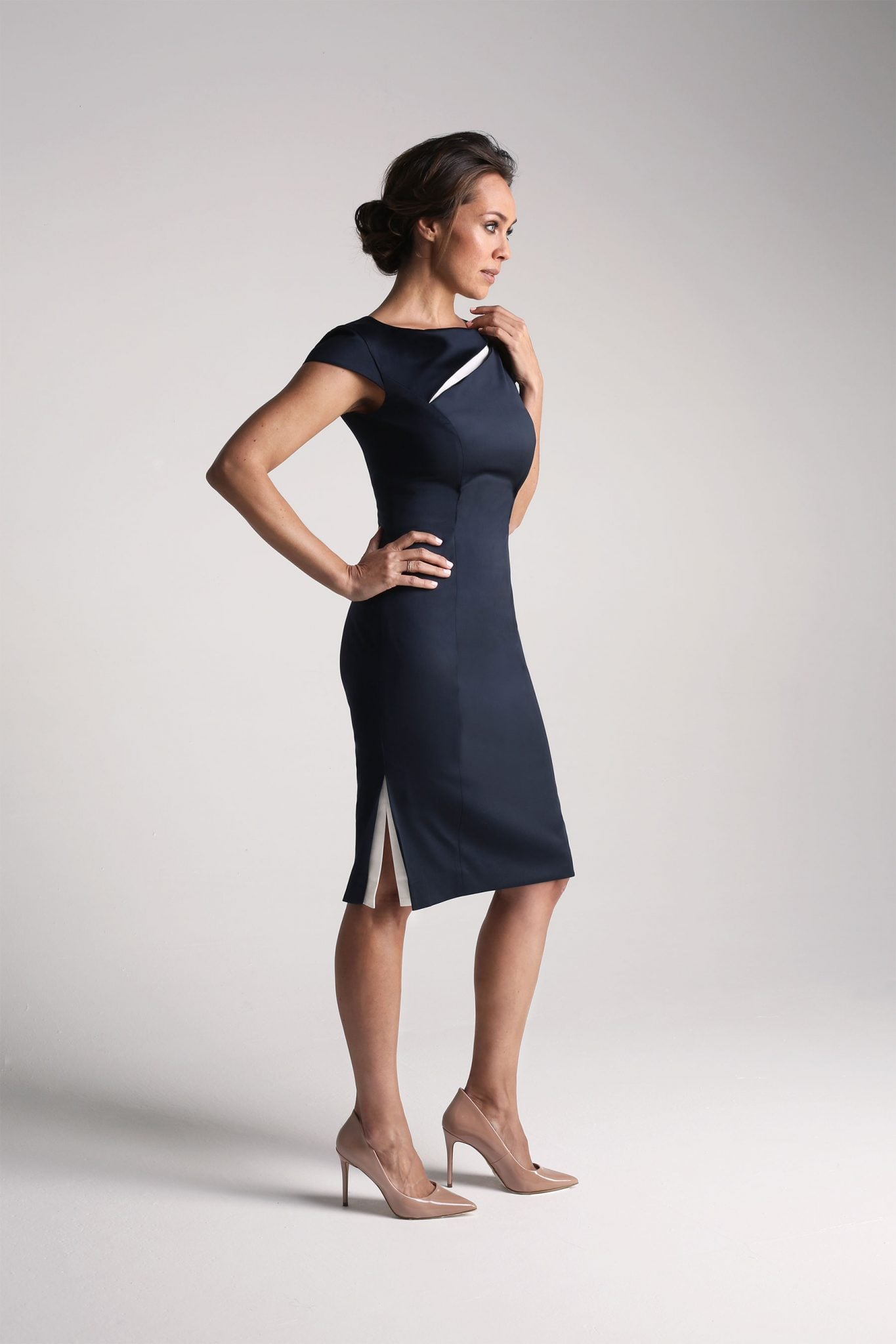 Navy Contrast Insert Dress1