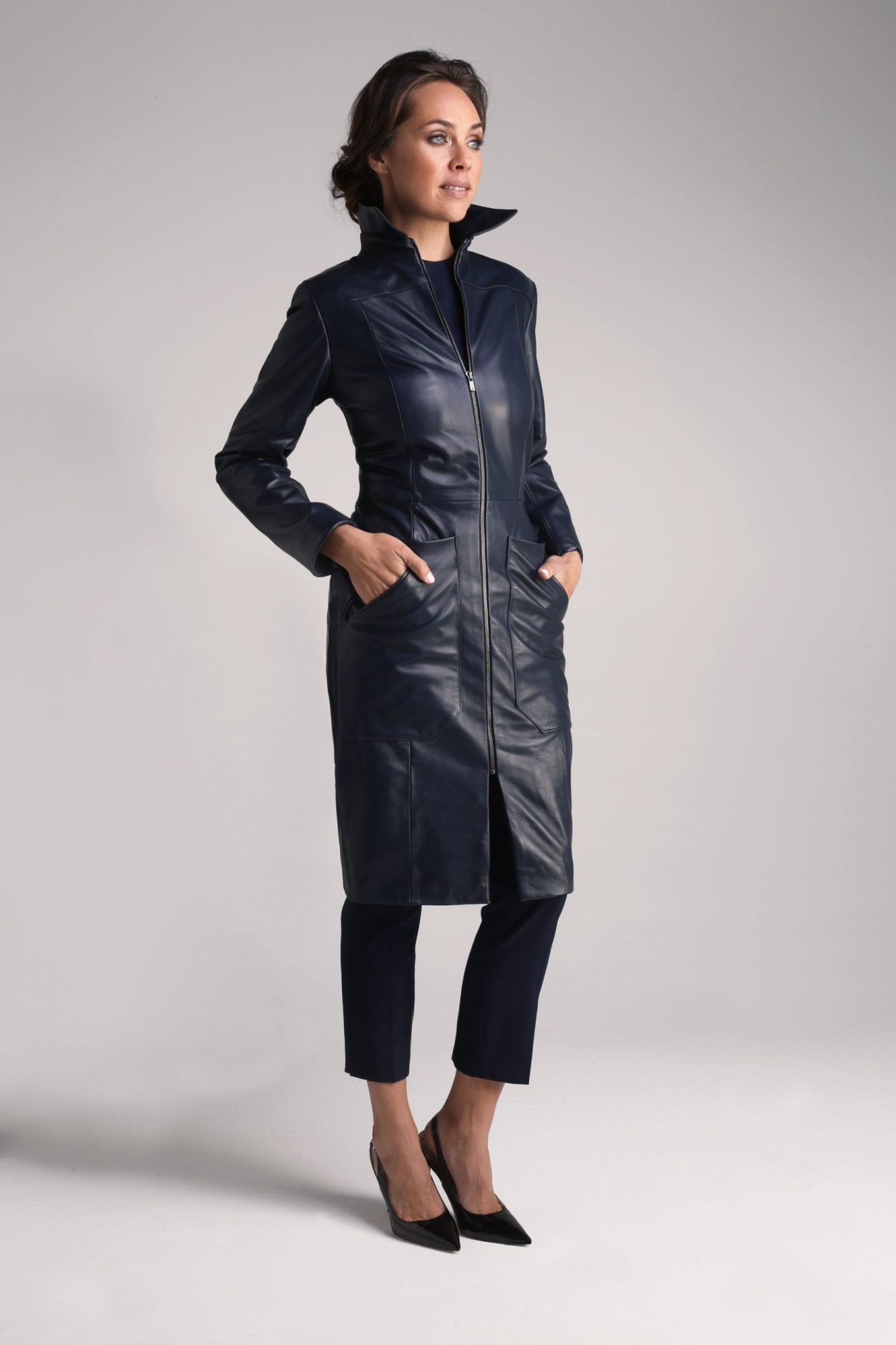 Navy Cecile Leather Coat