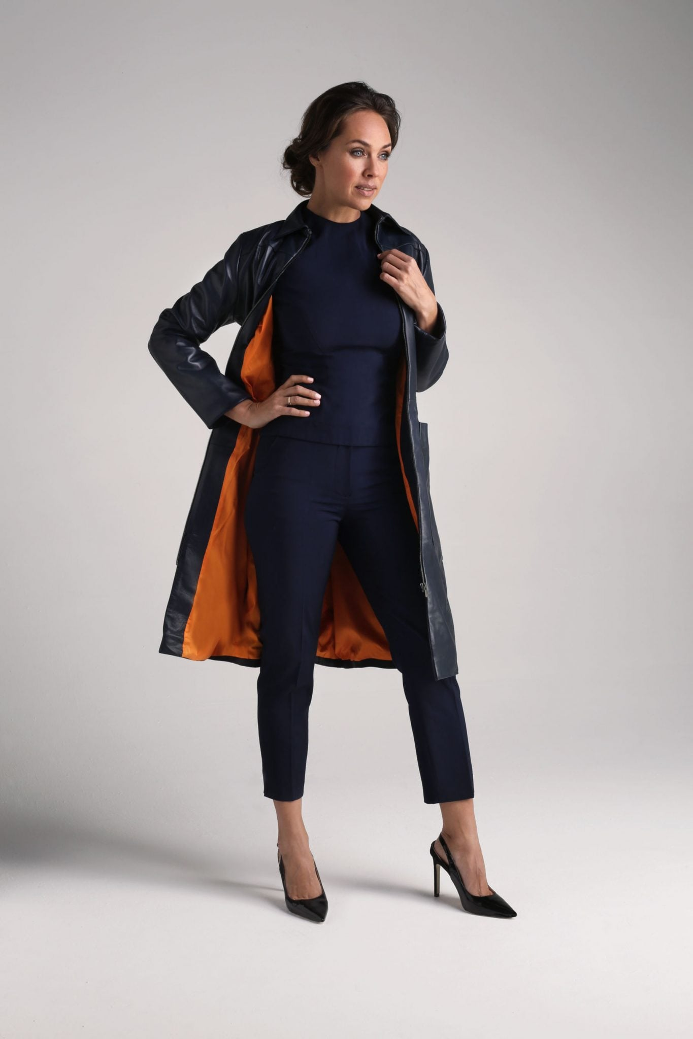 Navy Cecile Leather Coat2
