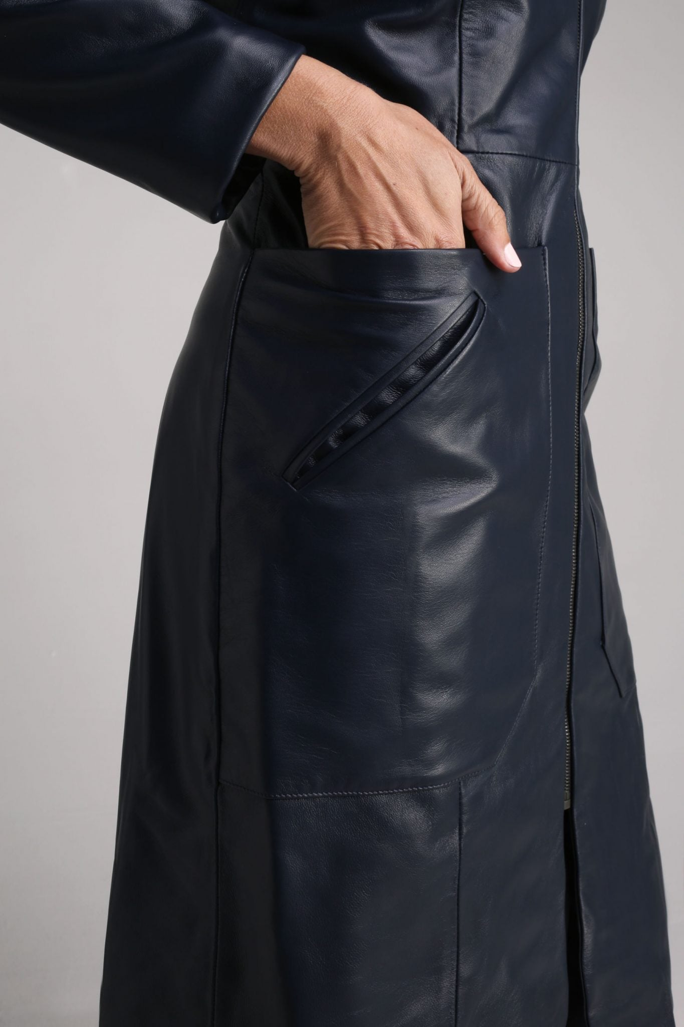 Navy Cecile Leather Coat1