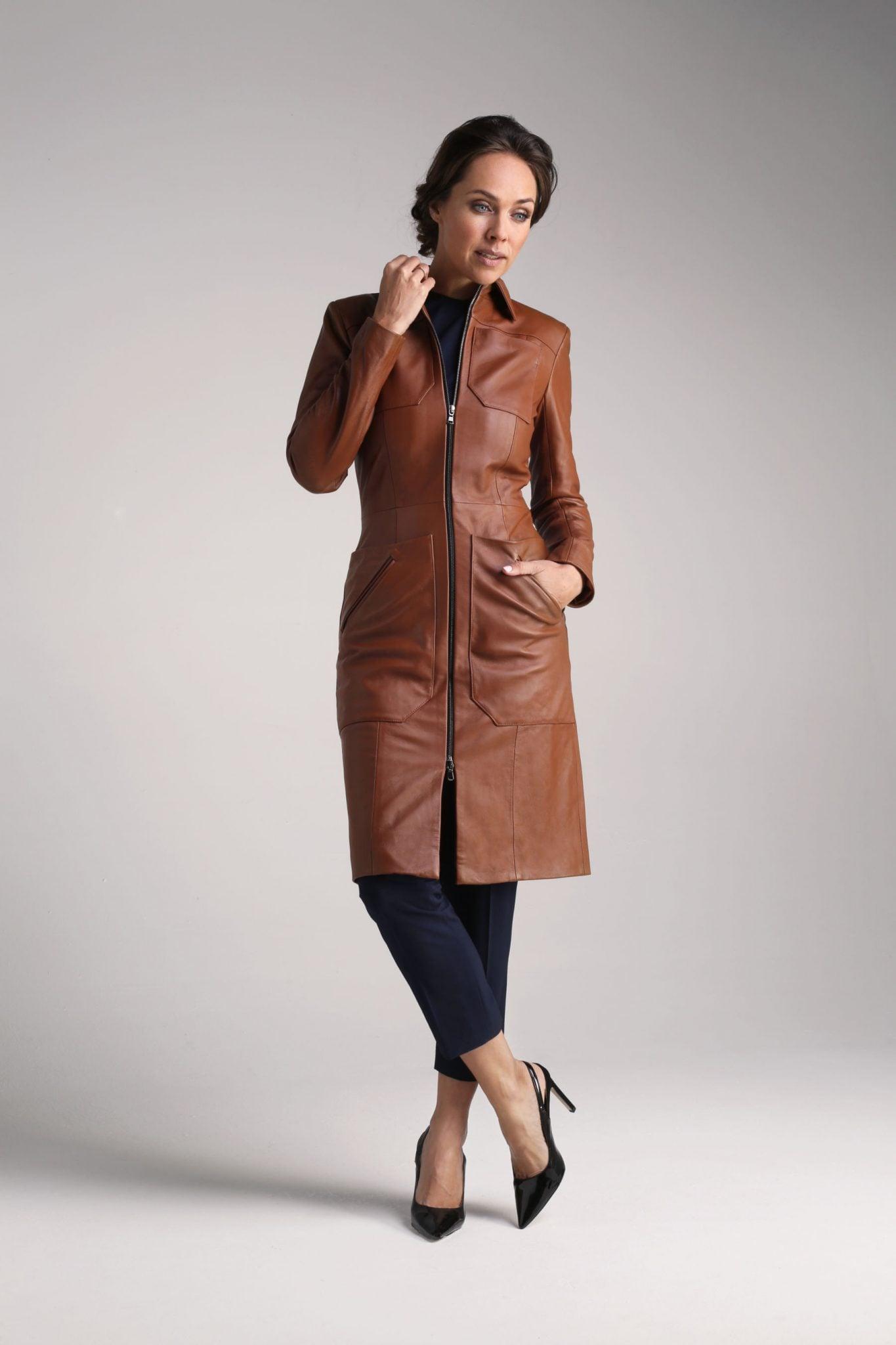 Tan Cecile Leather Coat