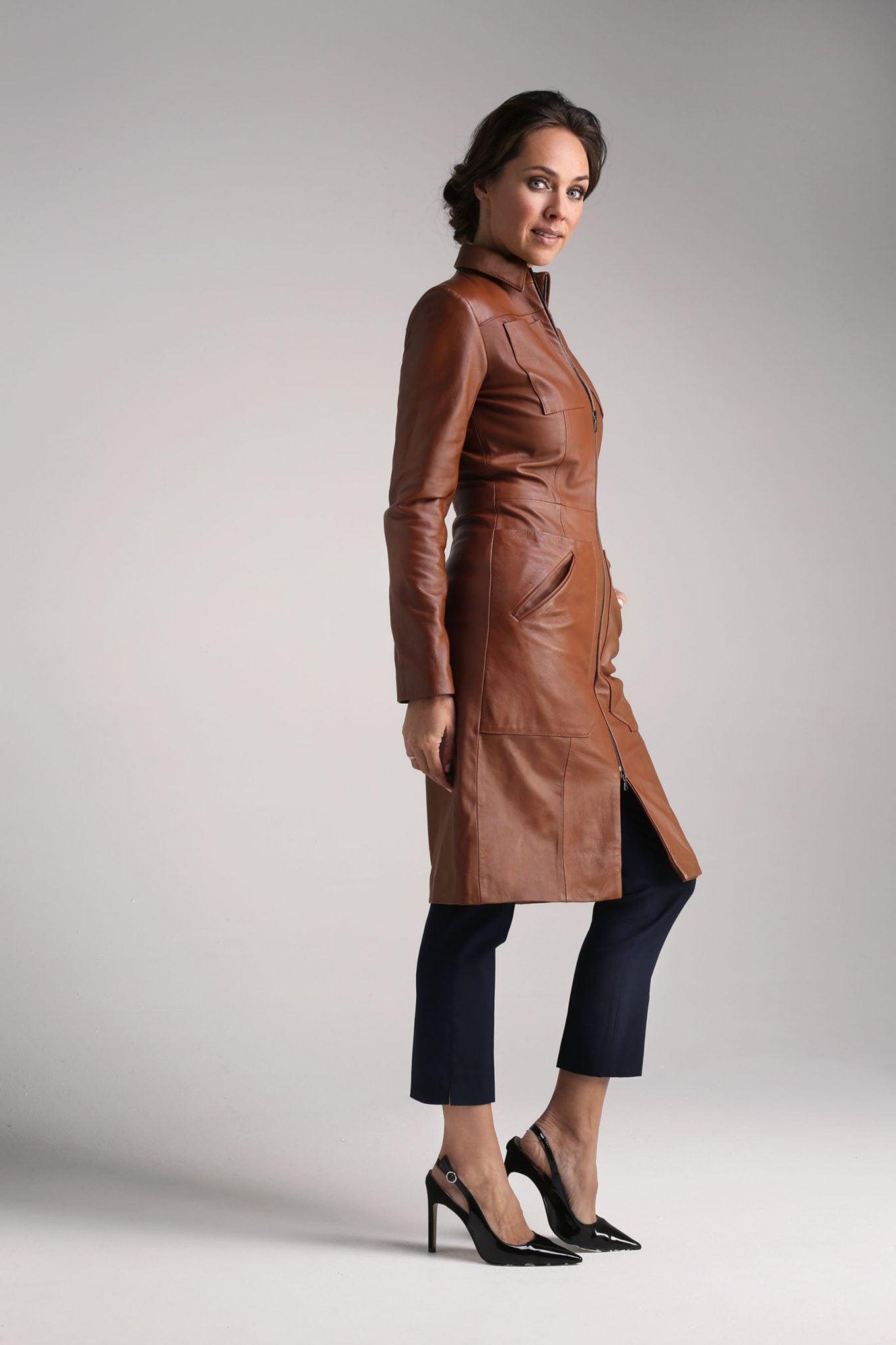 Tan Cecile Leather Coat2