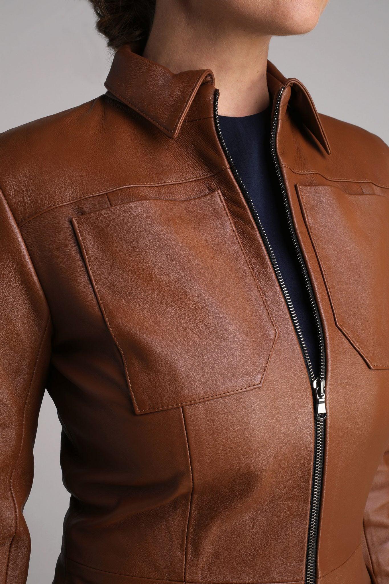 Tan Cecile Leather Coat1