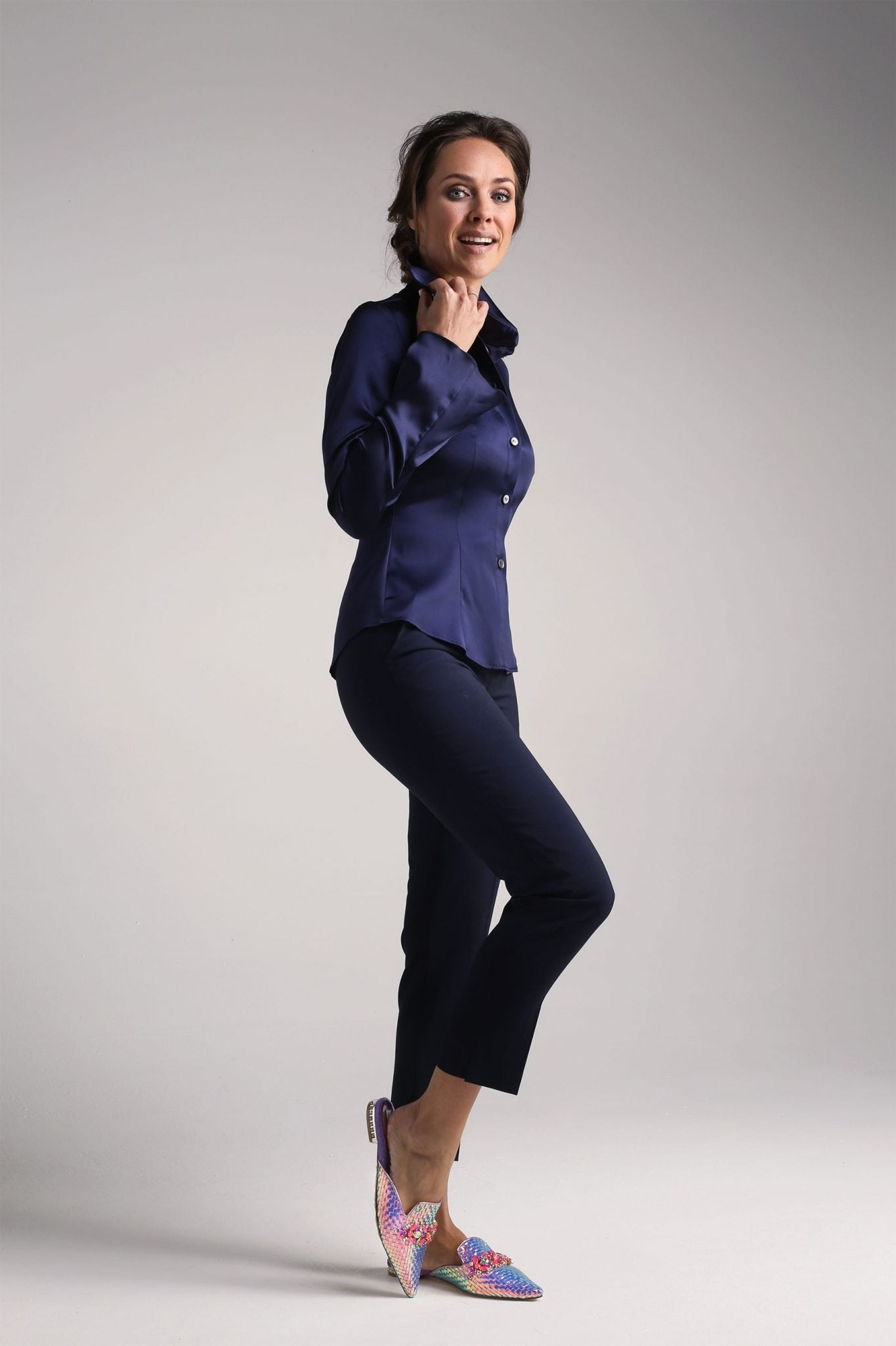 Navy Silk Shirt1