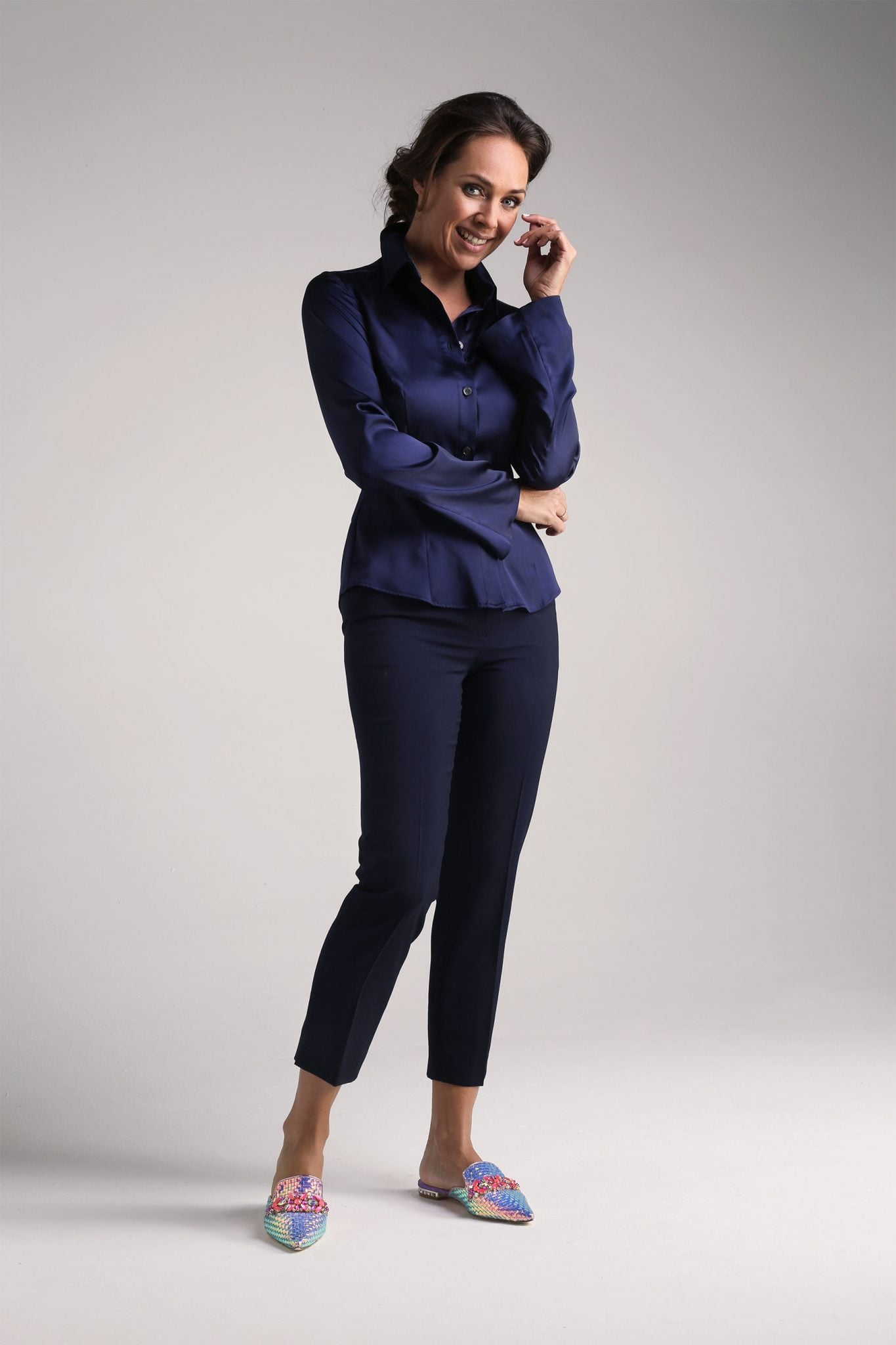 Navy Capri Trousers