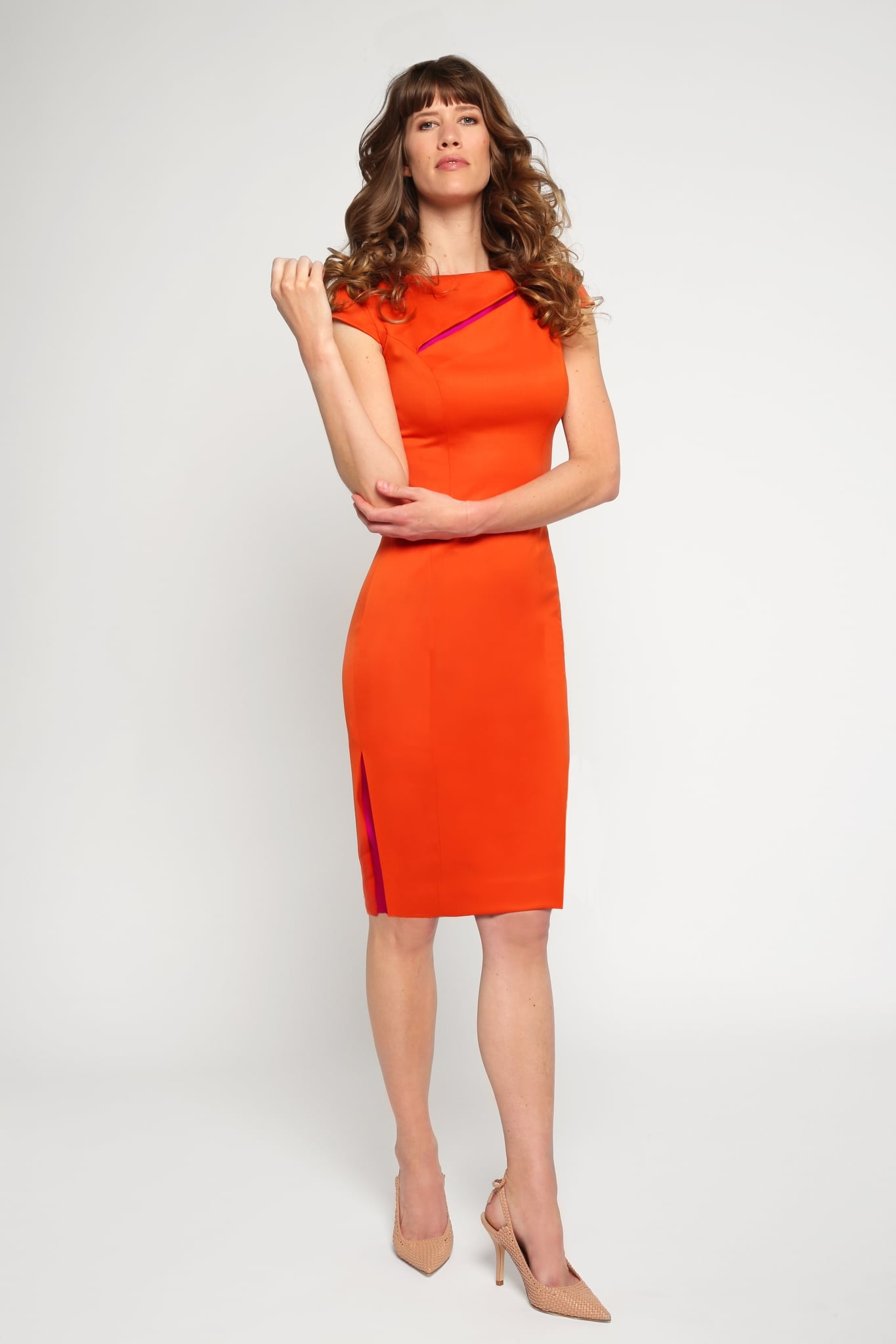 Orange slit neck dress