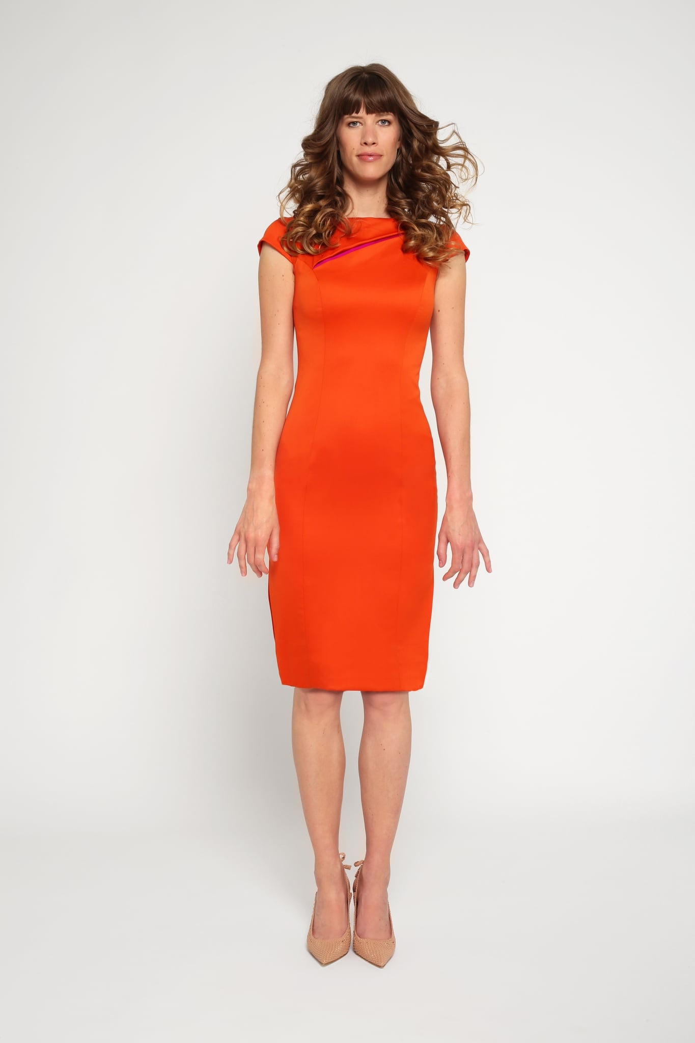 Orange slit neck dress1