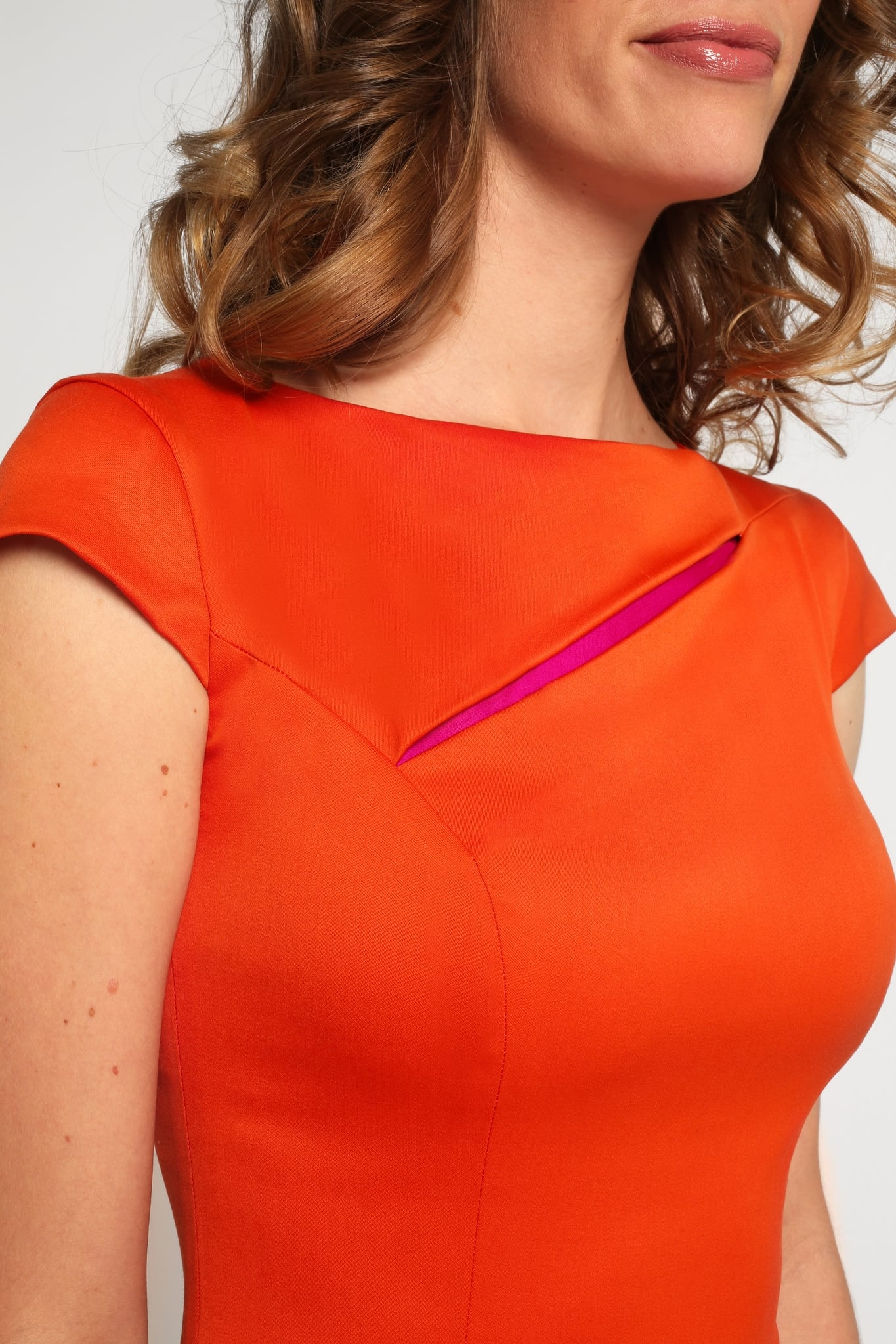 Orange slit neck dress2