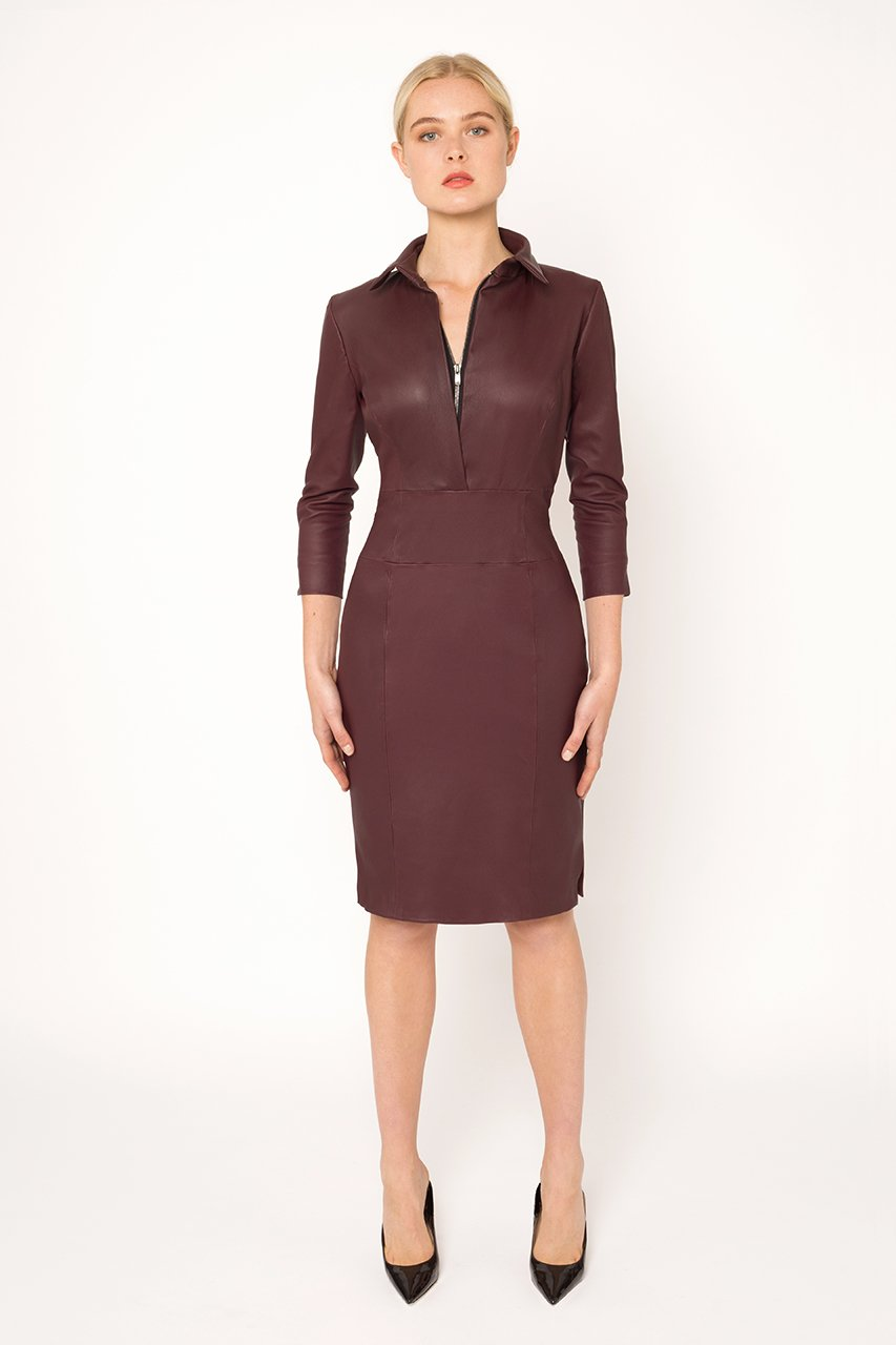Wine stretch leather dress