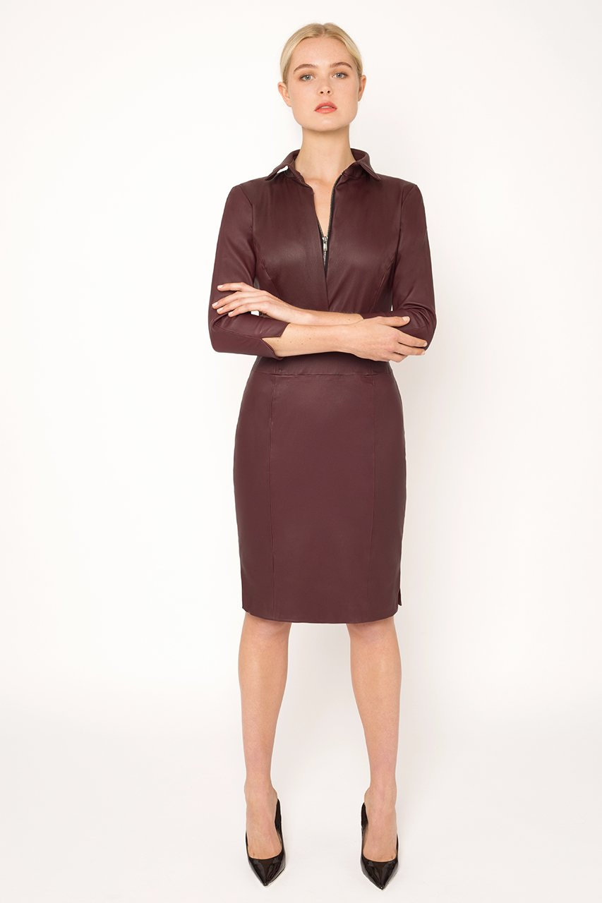 Wine stretch leather dress2