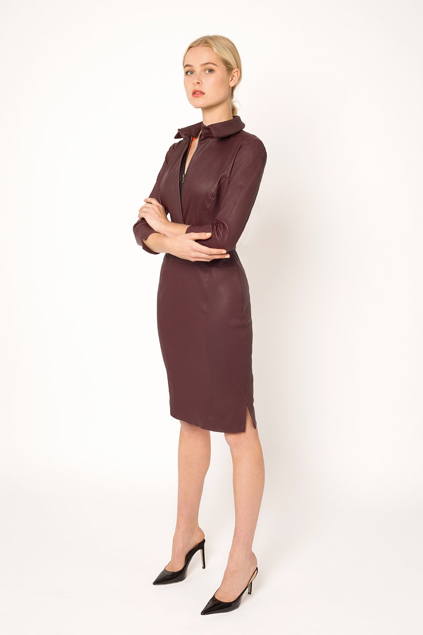 Wine stretch leather dress1