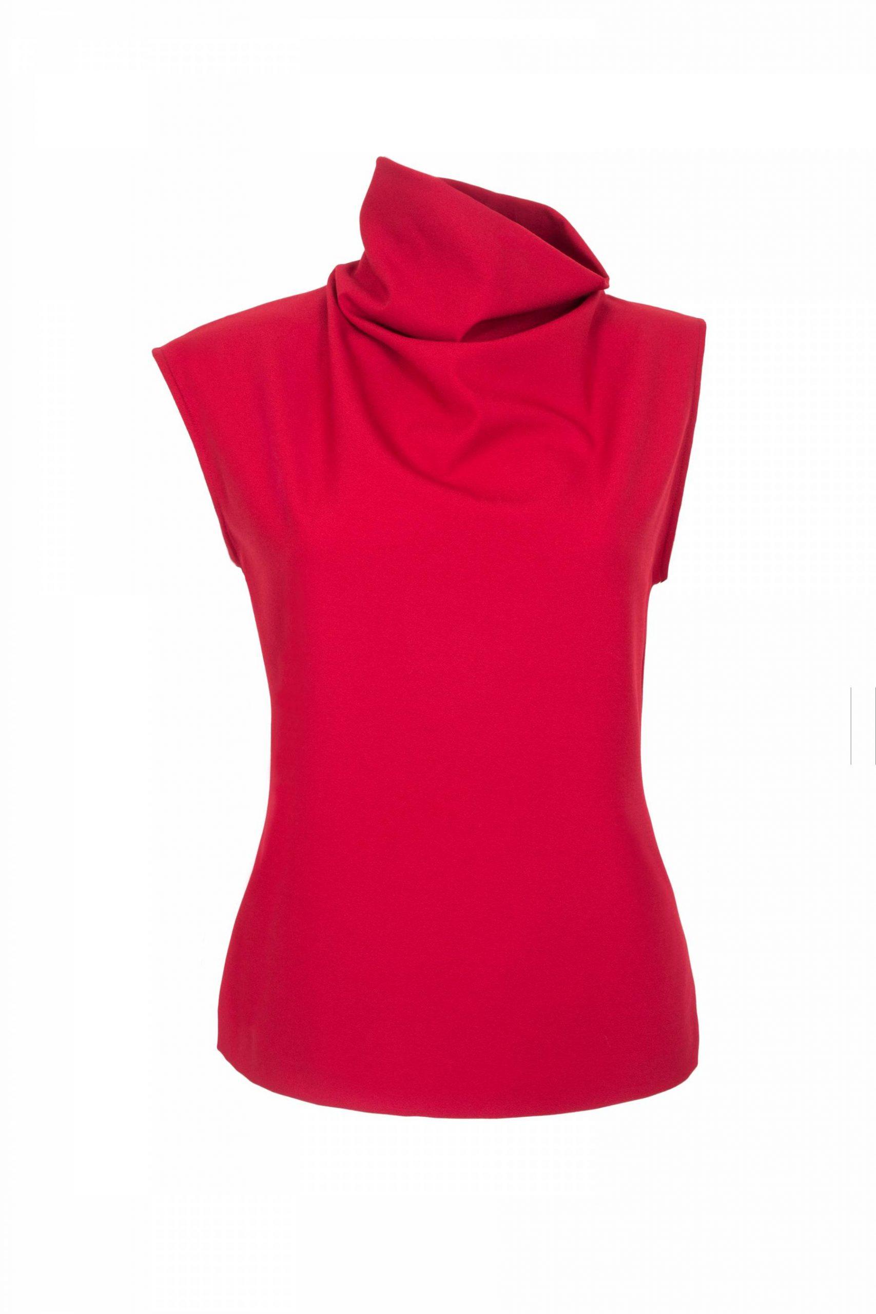 Asymmetric high neck top