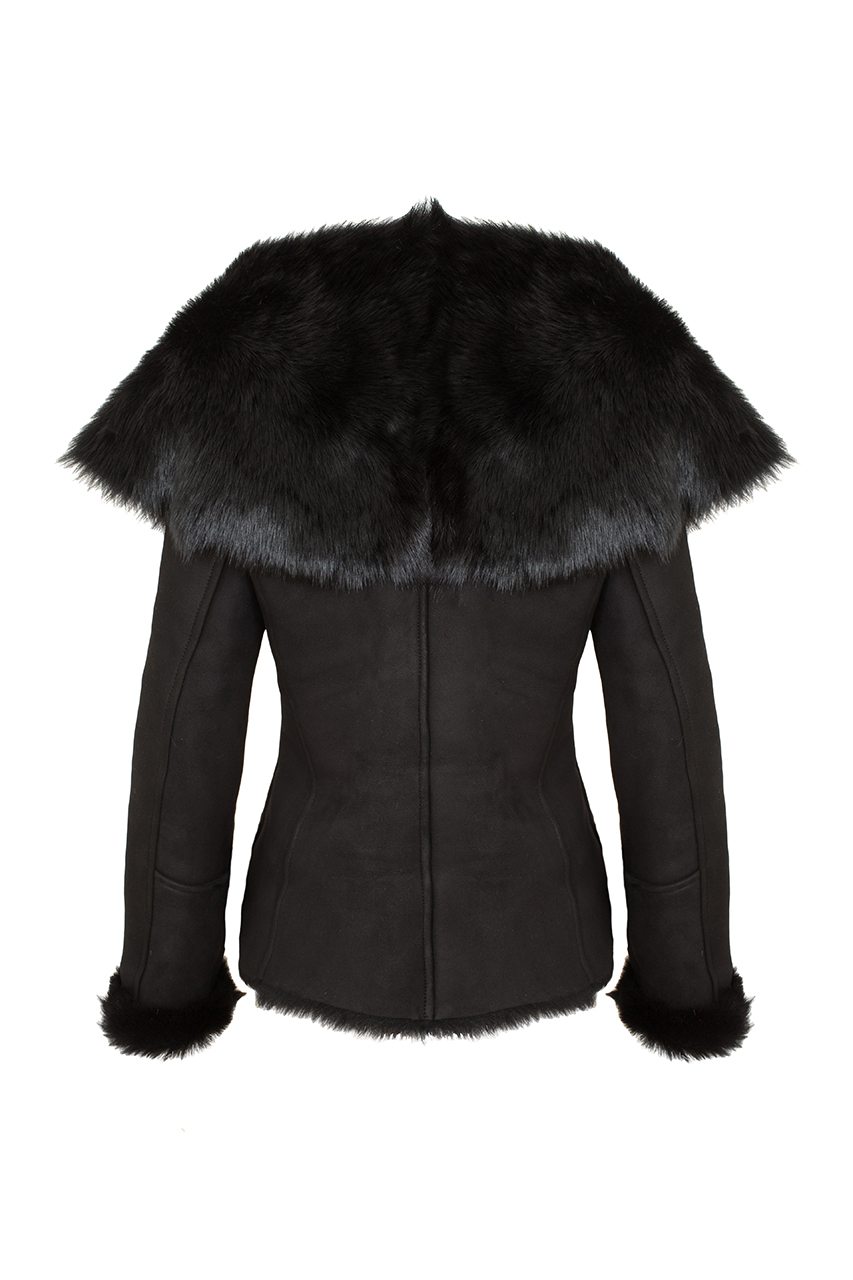 Shawl collar sheepskin jacket2